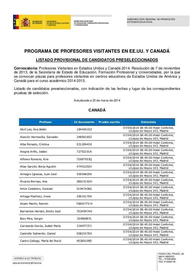 Profesores visitantes eeuu y canad preseleccionados a 25 for Csif ensenanza exterior