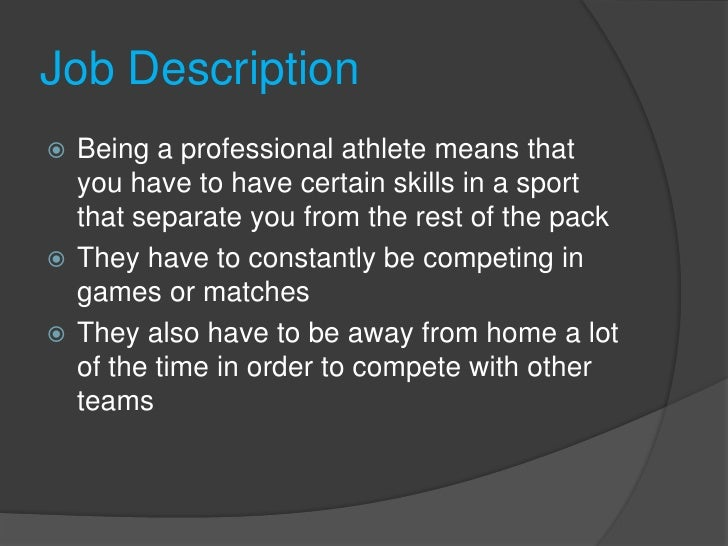 being a professional athlete
