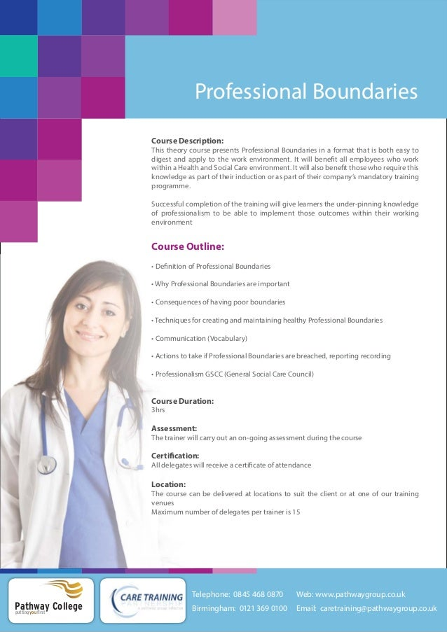 professional nursing boundaries Professional boundaries, medical record keeping, prescribing, and ethics courses for professionals.