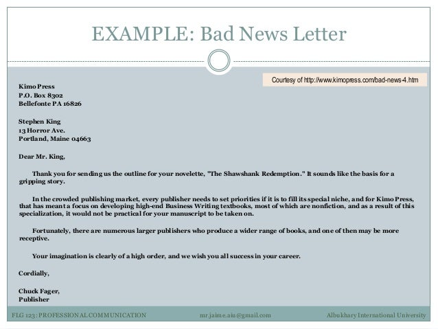 Professional communication 3 examples example bad news letter spiritdancerdesigns Image collections