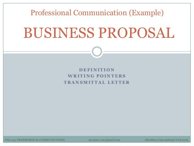 Professional Communication 3 Examples – Letter of Transmittal Example Proposal