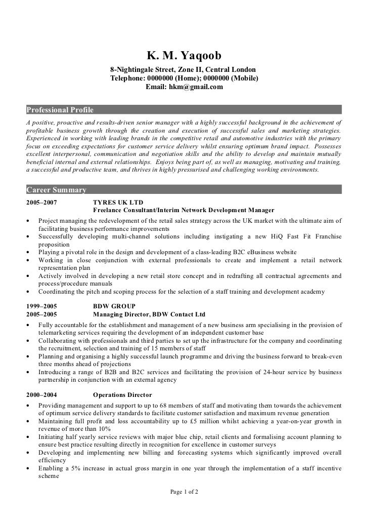 professional cv sample k m yaqoob 8 nightingale street - Professional Cv Template