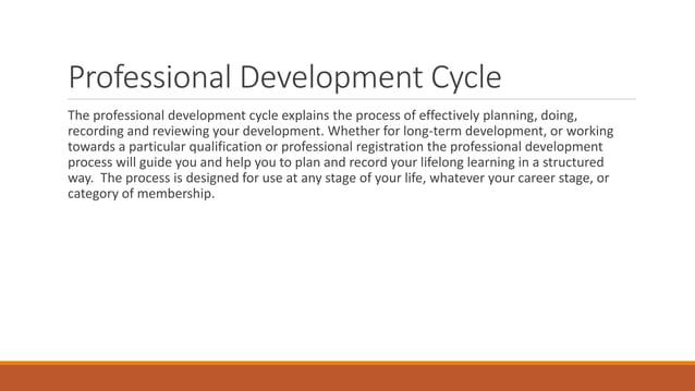 PROFESSIONAL DEVELOPMENT CYCLE