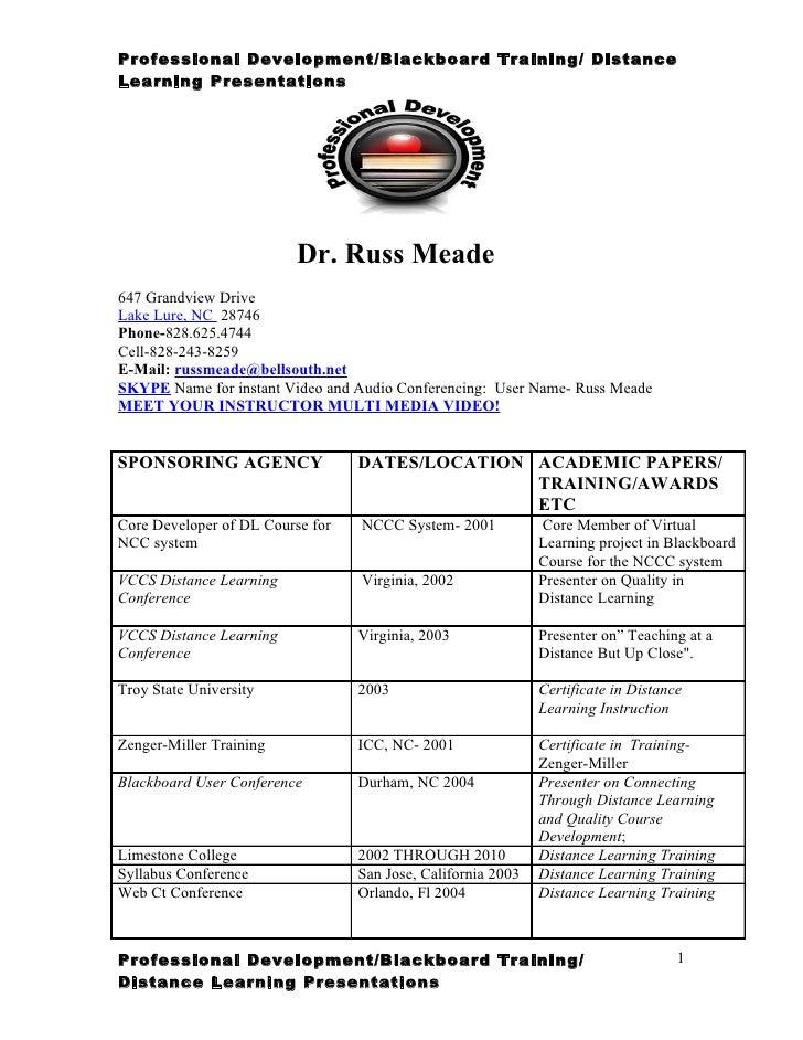 Professional Development/Blackboard Training/ DistanceLearning Presentations                          Dr. Russ Meade647 Gr...