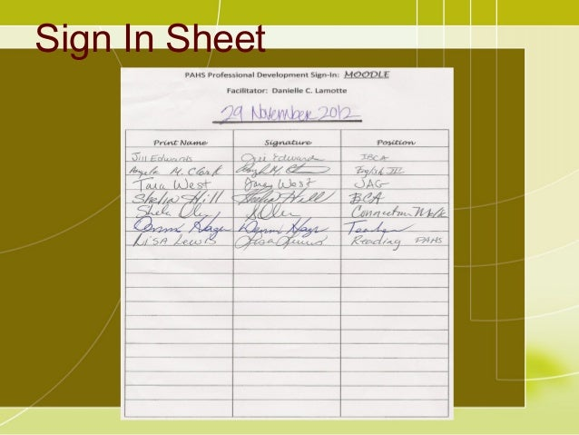 professional sign in sheet