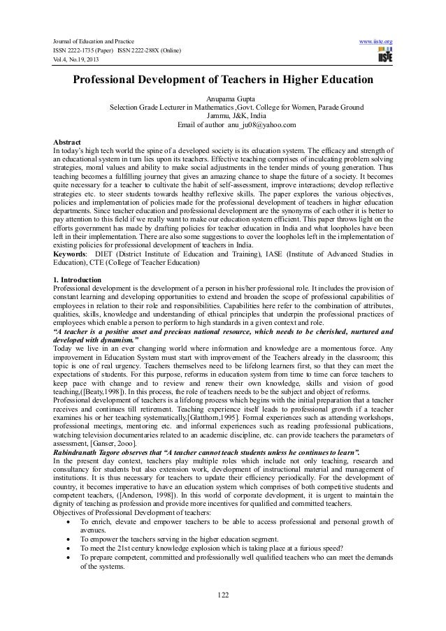 Journal of Education and Practice ISSN 2222-1735 (Paper) ISSN 2222-288X (Online) Vol.4, No.19, 2013  www.iiste.org  Profes...