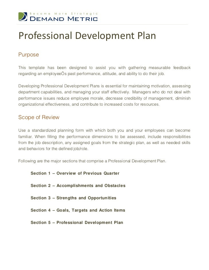 Professional development plan for Employee professional development plan template