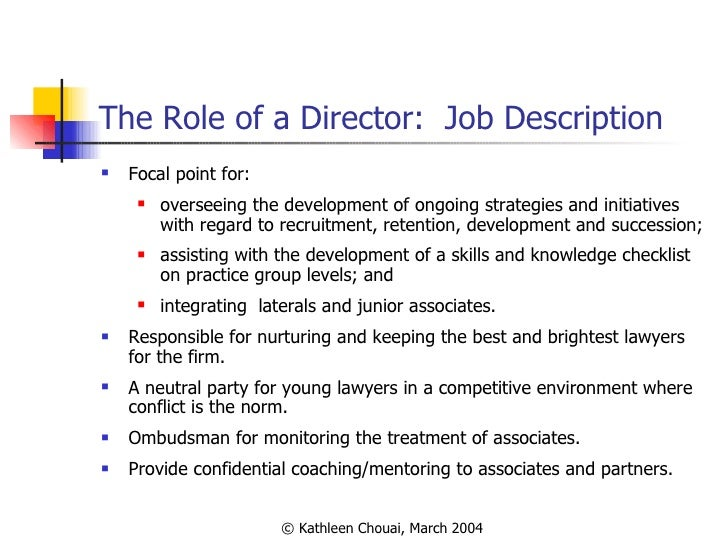 11 the role of a director job description - Practice Director Job Description
