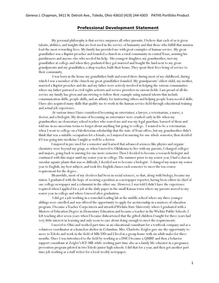 Professional Development Statement. Geneva J. Chapman, 3411 N. Detroit  Ave., Toledo, ...  Professional Statement Examples