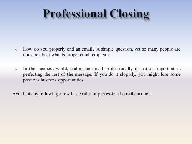 Professional e mail presentation