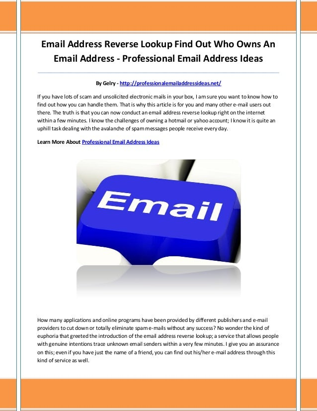 Email Address Reverse Lookup Find Out Who Owns An Email Address - Professional Email Address Ideas _______________________...