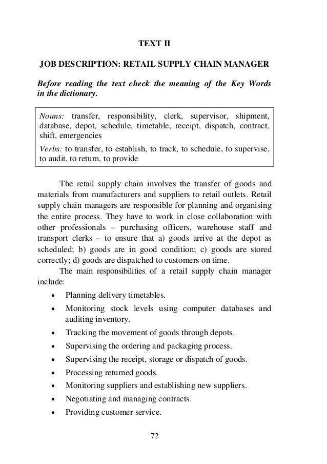Professional english forstudentsoflogisticsdisclaimer – Job Description for Supply Chain Manager
