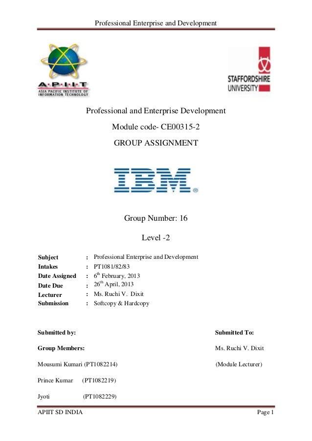 Professional Enterprise And Development APIIT SD INDIA Page 1 Professional  And Enterprise Development Module Code  ...