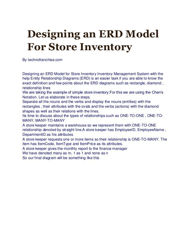 Designing an ERD Model For Store Inventory By technofranchise.com Designing an ERD Model for Store Inventory Inventory Man...