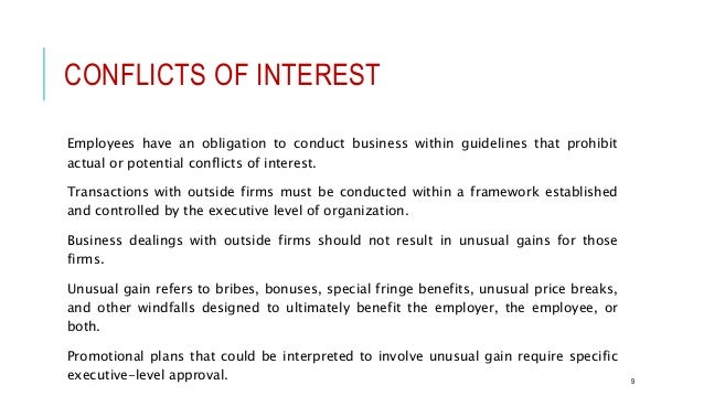 Professional ethical conduct conflicts of interest employees expocarfo