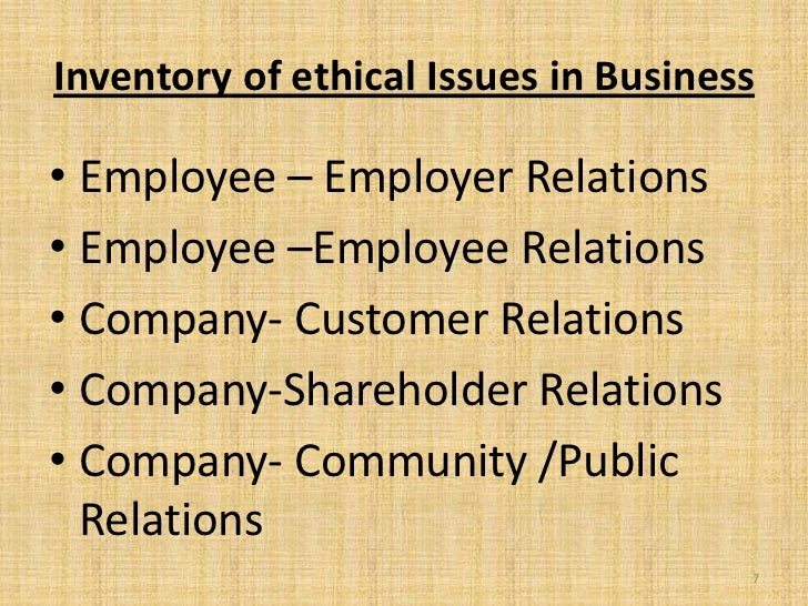 Inventory of ethical Issues in Business• Employee – Employer Relations• Employee –Employee Relations• Company- Customer Re...