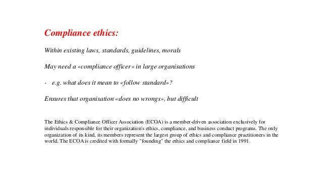 Professional ethics - Ethics and compliance officer association ...