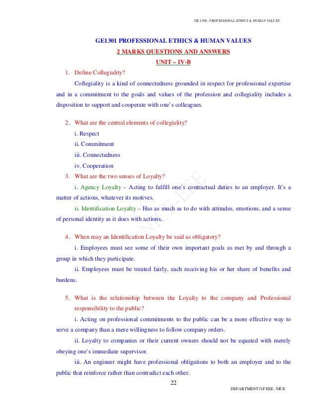 Professional ethics 2 mark & 16 mark question bank