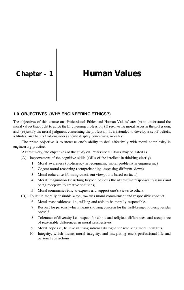 essay on human values and professional ethics