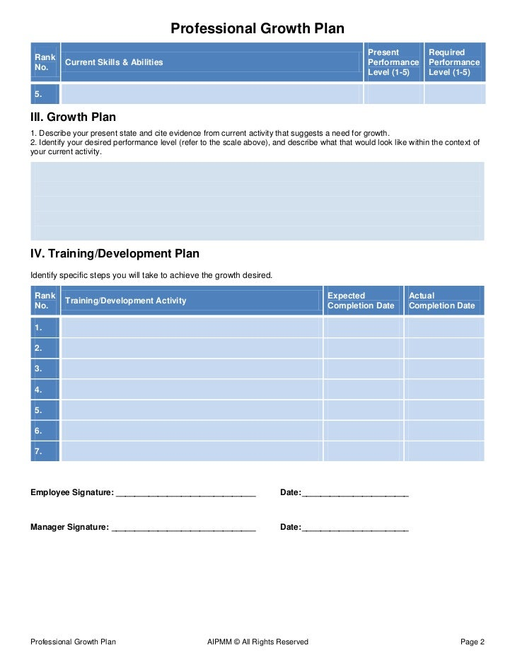 Professional Growth Plan Template  H Del Castillo Aipmm