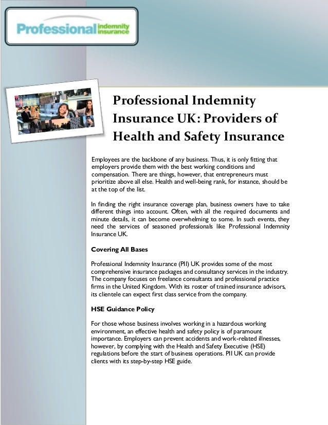Professional Indemnity Insurance UK: Providers of Health ...