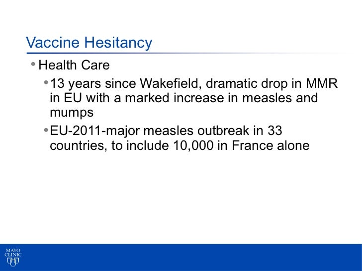 Vaccine Hesitancy • Health Care   • 13 years since Wakefield, dramatic drop in MMR    in EU with a marked increase in meas...