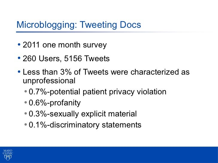 Microblogging: Tweeting Docs• 2011 one month survey• 260 Users, 5156 Tweets• Less than 3% of Tweets were characterized as ...