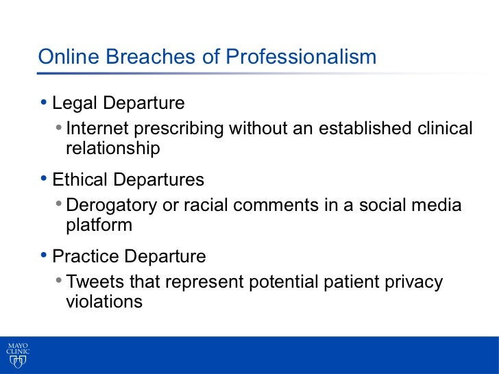 Online Breaches of Professionalism• Legal Departure  • Internet prescribing without an established clinical   relationship...