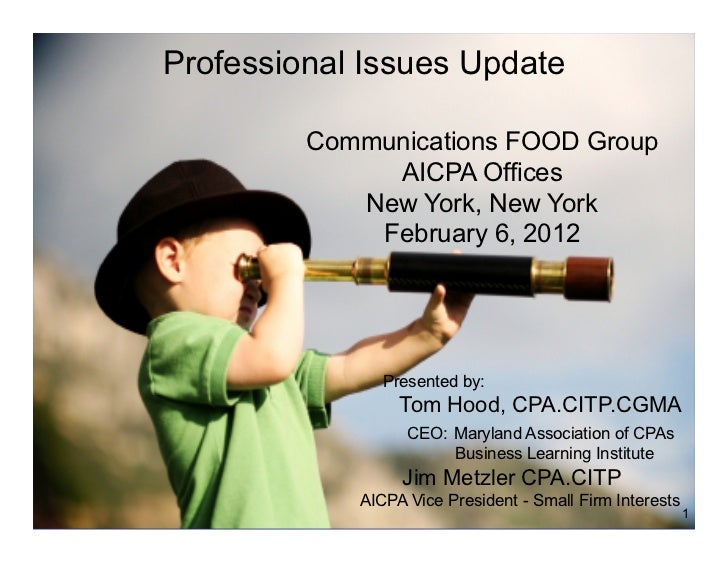 Professional Issues Update         Communications FOOD Group              AICPA Offices            New York, New York     ...