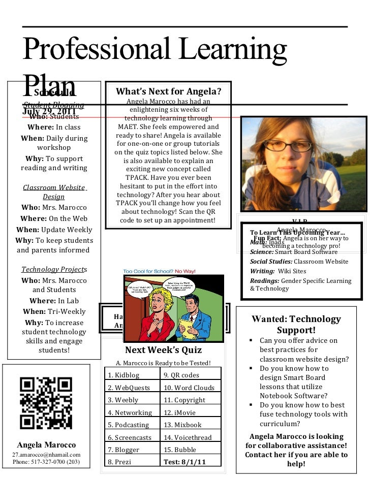 Professional Learning   Plan Schedule    Student Blogging                              What's Next for Angela?            ...