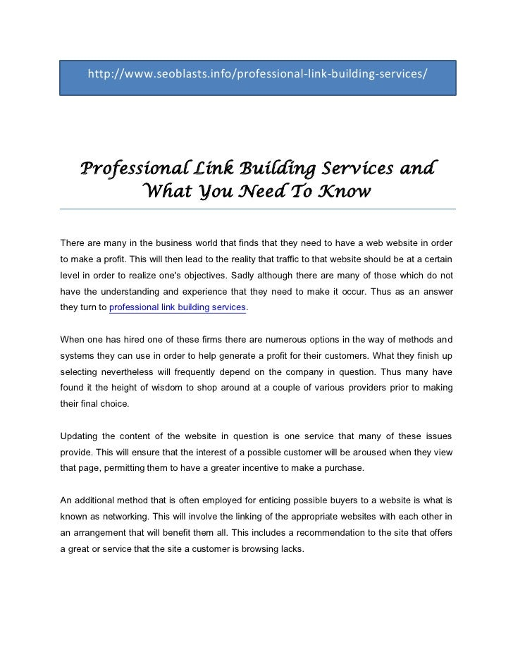 http://www.seoblasts.info/professional-link-building-services/     Professional Link Building Services and            What...