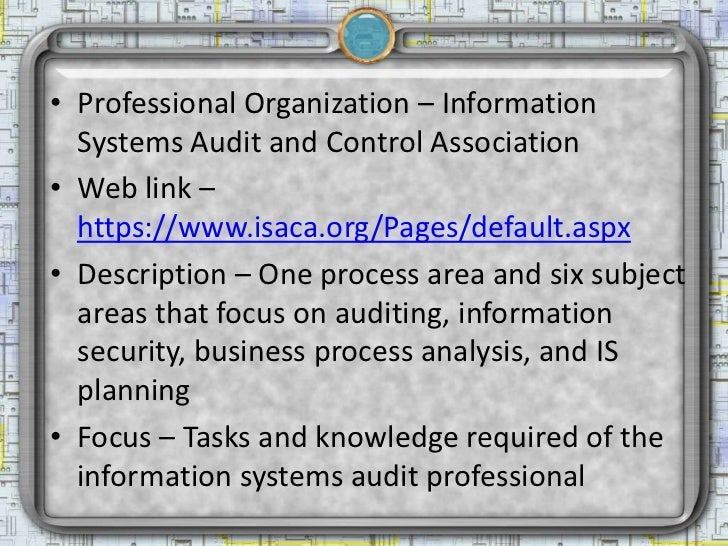 Professional organizations of interest to information security professionals Slide 3