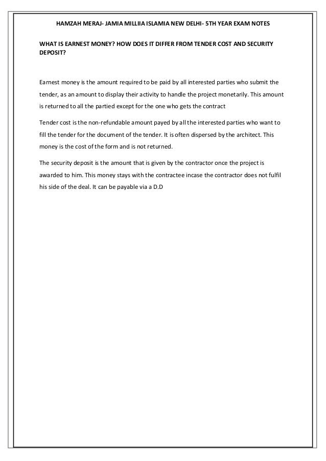 Professional practice notesjamia millia islamia 5th year – Rental Deposit Form