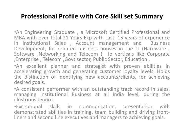 Professional Profile With Core Skill Set Summaryu003cbr /u003eu003culu003eu003cli ...  Professional Profile
