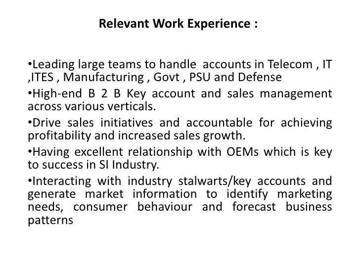 summary of skills and experience