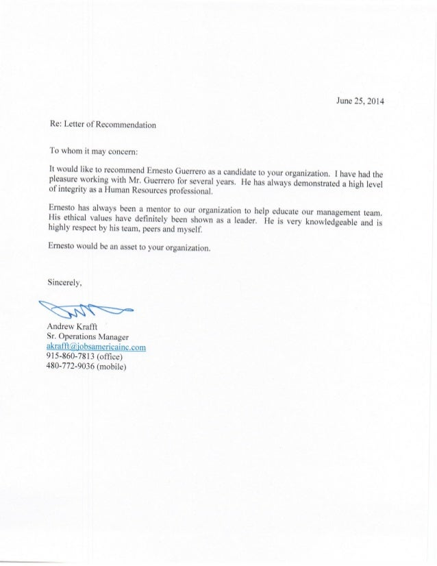 Professional Reference Letter Andrew Krafft. June 25, 2014 Re: Letter Of  Recommendation To Whom It May Concem: It