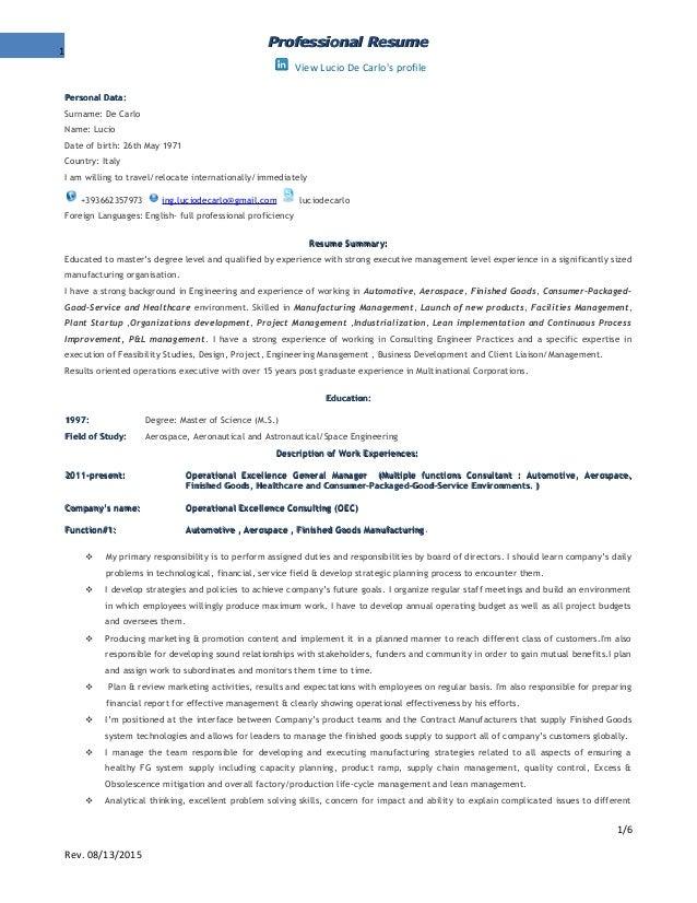 professional resume decarlo luciorev082015