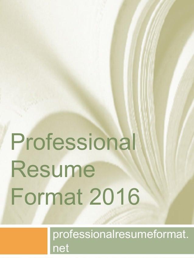 professional resume format 2016