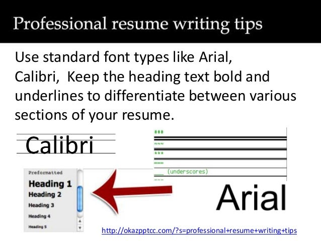 calibri writing a resume