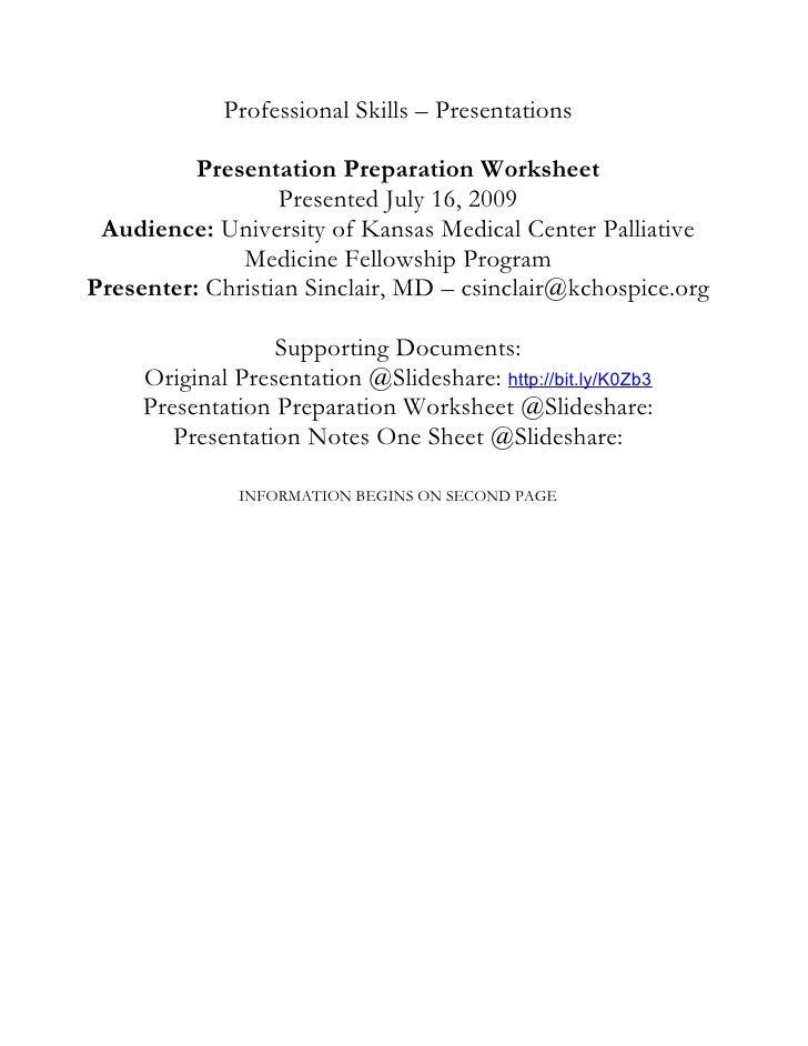 Presentation Preparation Worksheet