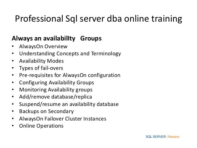 professional sql server dba online training