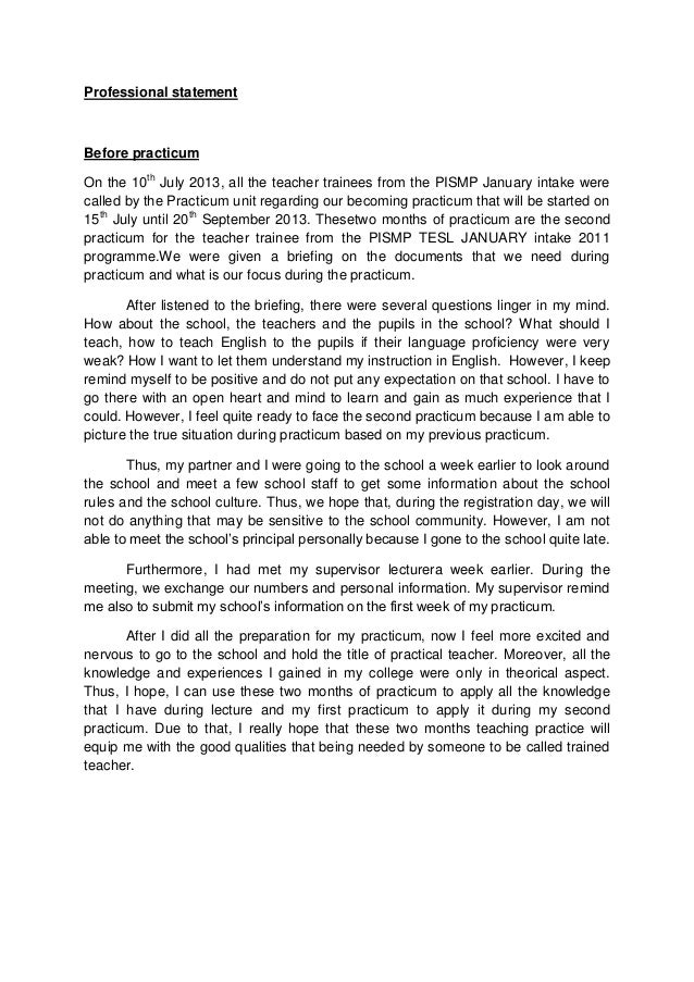 Professional Statement Before Practicum On The 10th July 2013, All The  Teacher Trainees From The ...  Professional Statement Examples