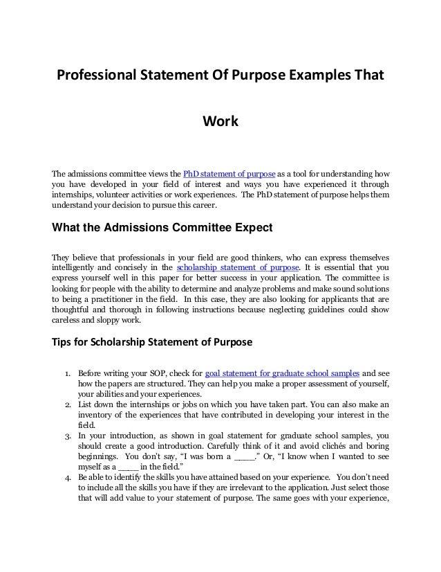 Write a statement of purpose phd