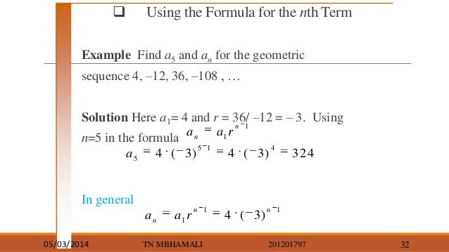 Find N Term Geometric Sequence  Mydrlynx