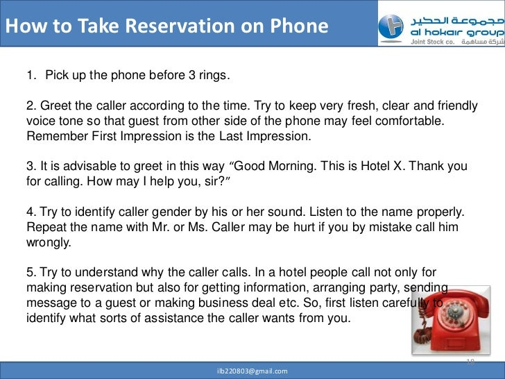 Professional telephone etiquette how to take reservation on phone m4hsunfo
