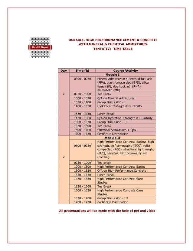 Professional Training Course: Durable, High Performance Cement & Concrete with Mineral & Chemical Admixtures Slide 2