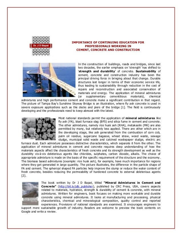 Professional Training Course: Durable, High Performance Cement & Concrete with Mineral & Chemical Admixtures Slide 3