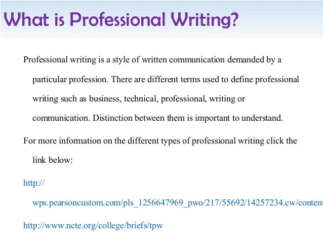 Profession of writing