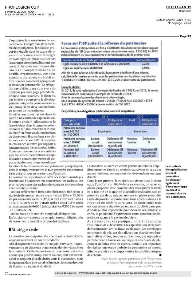 PROFESSION CGP  8 PARVIS DE SAINT MAUR  94106 SAINT MAUR CEDEX - 01 45 11 08 08  DEC 11/JAN 12  Bimestriel  Surface approx...