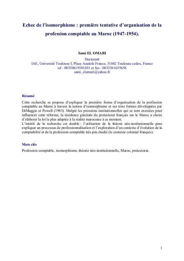 Echec de l'isomorphisme : première tentative d'organisation de la profession comptable au Maroc (1947-1954). Sami EL OMARI...
